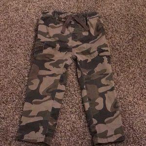 Camouflage pants elastic waist velcro pockets